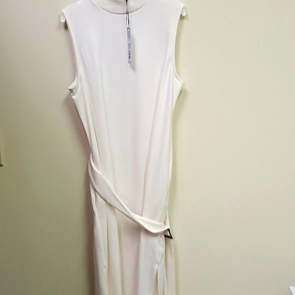 Cream White mock neck split dress